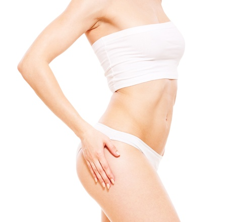 arms body: beautiful healthy womans body in white underwear  Stock Photo