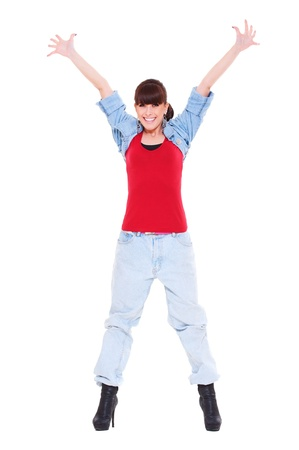 happy woman raised hands up. isolated on white background  photo