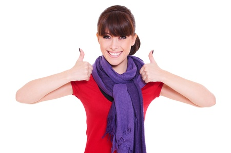 alluring women: portrait of happy woman showing thumbs up. isolated on white background Stock Photo