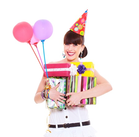 portrait of joyful woman with gifts and balloons. isolated on white background  Stock Photo - 9963625
