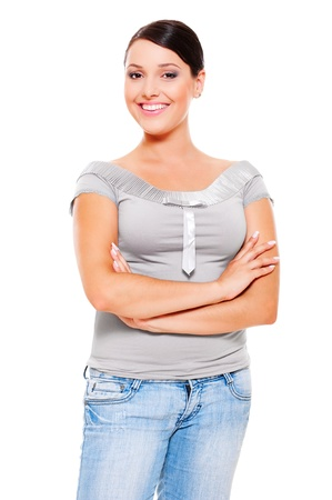 alluring women: portrait of smiley young woman in grey t-shirt. isolated on white background Stock Photo