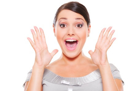 portrait of surprised woman over white background  photo