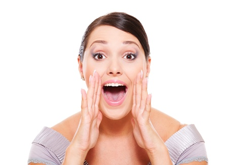 excited woman shouting over white background photo