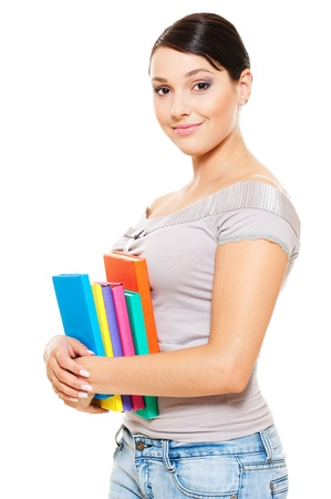 sexy teacher: beautiful young woman holding books. isolated on white background  Stock Photo