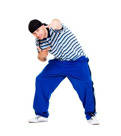 rapero: bailar�n de hip-hop realizar. aislado sobre fondo blanco Foto de archivo