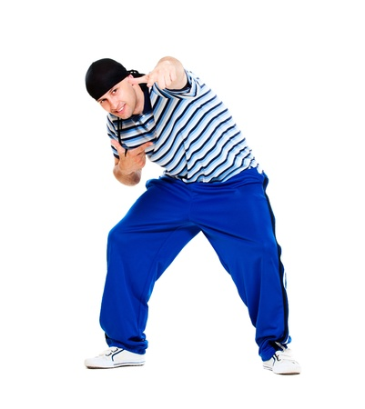 rapper: hip hop dancer performing. isolated over white background