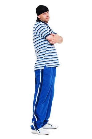 cool attitude: hip hop man standing over white background  Stock Photo