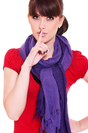 pretty woman making silence sign over white background  Stock Photo - 10485175
