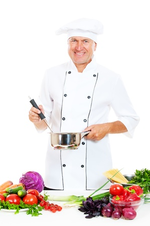 portrait of happy chef in uniform holding pot and spoon. isolated on white background Stock Photo - 10822187