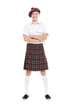 scot: portrait of happy guy in national scotch clothes. isolated on white background Stock Photo