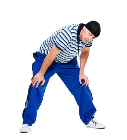 hip hop man: hip hop man standing over white background  Stock Photo