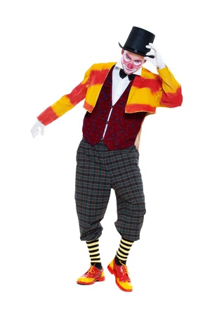 portrait of clown in top hat. isolated on white background photo