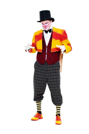 portrait of clown. isolated on white background photo