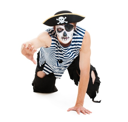 portrait of cruel pirate. isolated on white background photo
