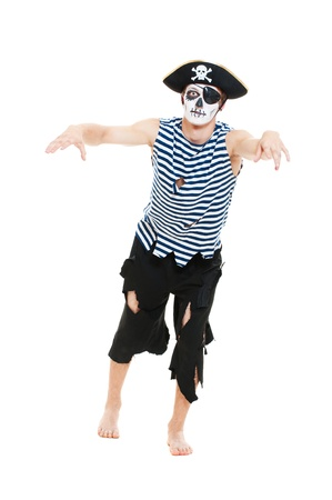 portrait of terrible pirate. isolated on white background photo
