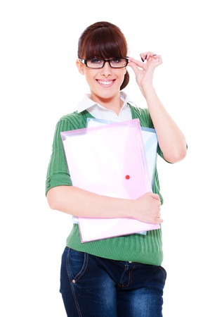 portrait of pretty student with papers. isolated on white background photo