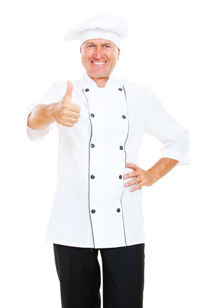 prosperous chef showing thumbs up. isolated on white background photo