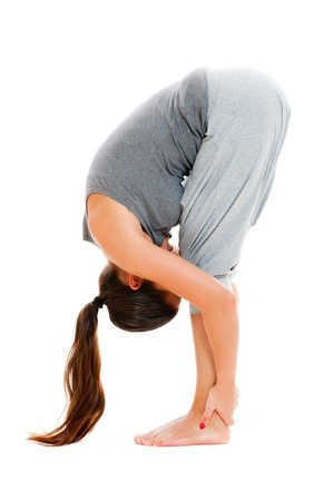asana: young woman doing stretch exercise. isolated on white background