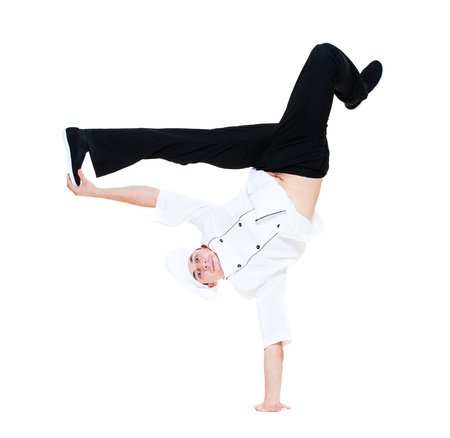 funny cook dancing break dance. isolated on white background photo