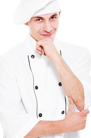 portrait of pensive smiley cook over white background Stock Photo - 10943580