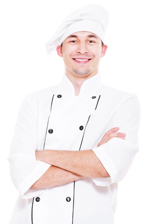 portrait of happy young cook. isolated on white background  photo