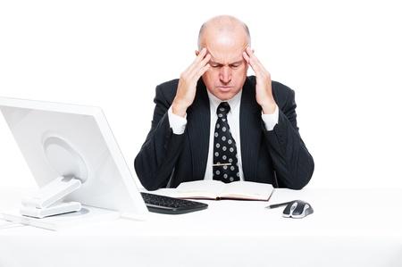 consider: sad businessman have a headache