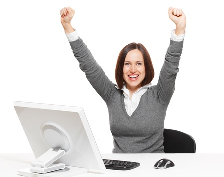 secretary desk: happy businesswoman. isolated on white background
