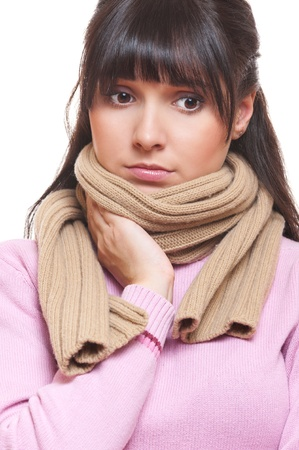 sad woman in scarf have a flu. isolated on white background