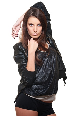 portrait of sexy woman in leather coat. isolated on white background  photo