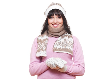 smiley woman in hat and scarf. isolated on white background photo