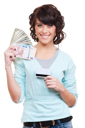 cash card: smiley young woman holding paper money and plastic card. isolated on white background