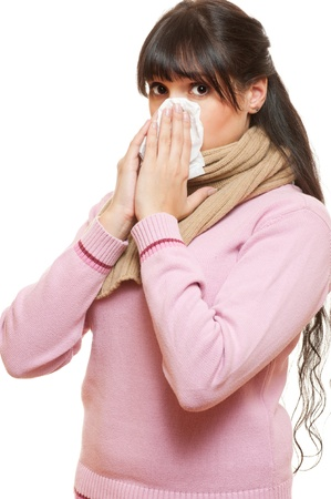 afflict: adult woman with cold. isolated on white background  Stock Photo