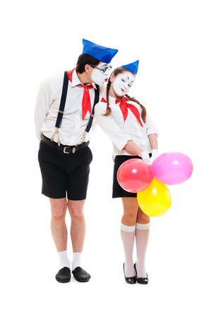 portrait of couple mimes. isolated on white background  photo
