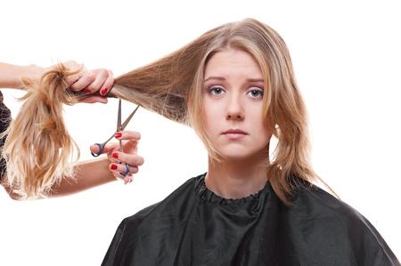 shorten: modelo de triste en peluquer�a. aisladas sobre fondo blanco