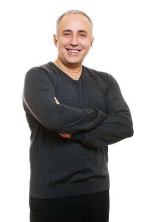 mid life: portrait of smiley senior man. isolated on white background