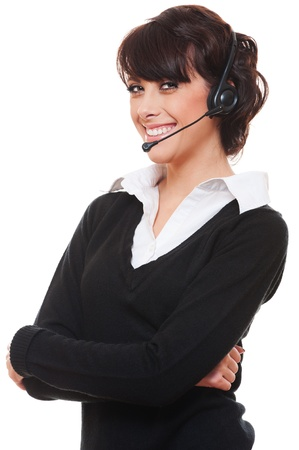 portrait of smiley telephone operator over white background  Stock Photo - 12428755