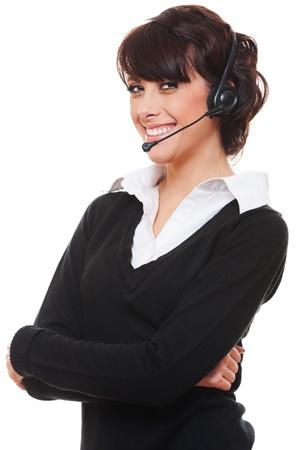 portrait of smiley telephone operator over white background  photo