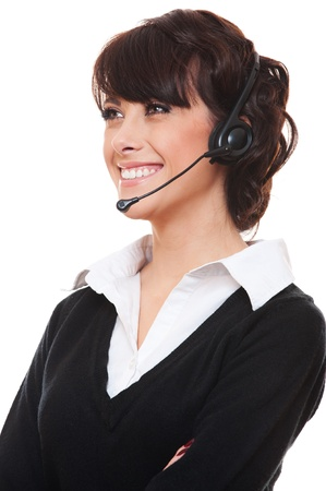 portrait of smiley telephone operator over white background  photo