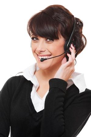 telephone operator: portrait of smiley telephone operator over white background