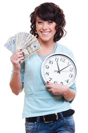 smiley young woman holding money and clock. isolated on white background  photo