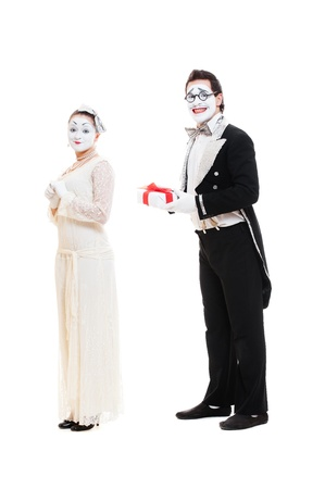 sweethearts: portrait of sweethearts mimes. isolated on white background  Stock Photo