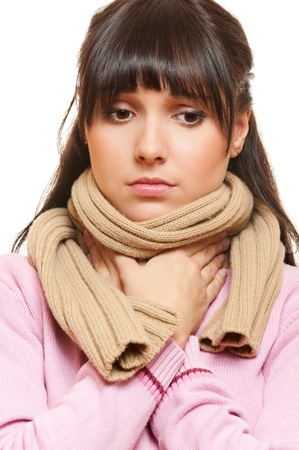 afflict: sad woman in scarf have a flu. isolated on white background  Stock Photo