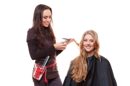 hair stylist: smiley hairdresser with client. isolated on white background