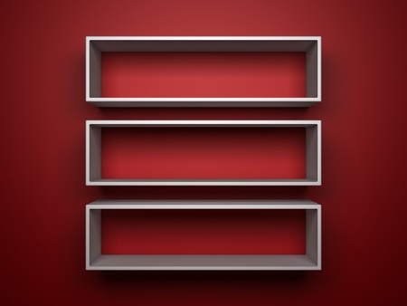 three 3d white shelfs on red background photo