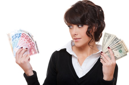 donna ricca: dollaro o euro. studio di immagine su sfondo bianco Archivio Fotografico