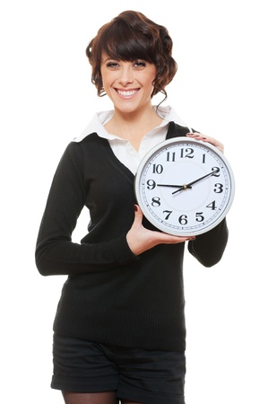 portrait of beautiful smiley woman with clock. isolated on white Stock Photo - 13240329