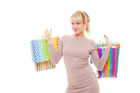 studio shot of young shopper. isolated on white photo