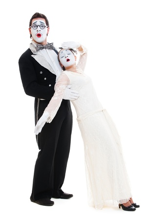 mimic: mime faint away  studio shot over white background Stock Photo