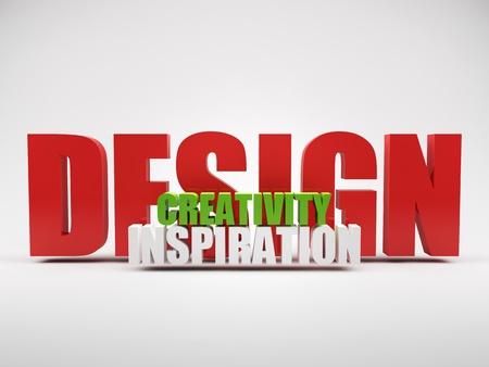 word art: render of words design creativity inspiration over grey background