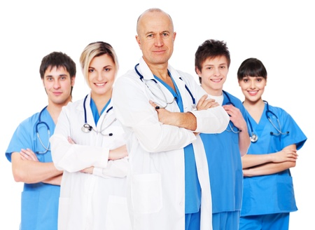 Doctor and his team isolated on white background photo